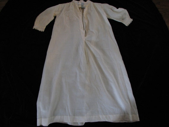 Victorian Infants Gown Creamy White Antique Baby Dressing Gown Batiste Lace Tucks