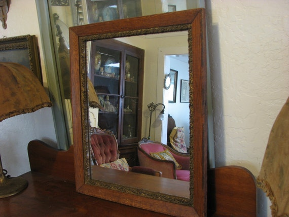 Quarter Sawn Oak Mirror / Framed Mirror / Gesso Detail / Edwardian