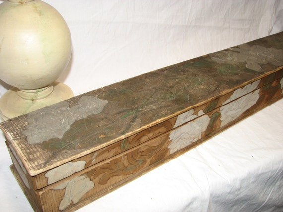 Very Long Victorian Pyrography Box Art Nouveau 31 Inches long