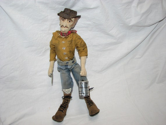 Vintage Hand Crafted Gold Miner Doll From The Gold Country