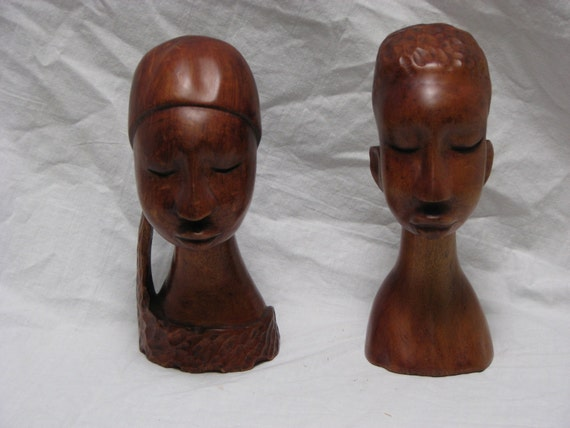 Vintage Mid Century / African Busts / African Couple / Carved Wood