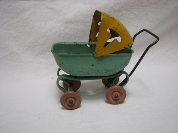 Rare Antique Tin Toy Baby Carriage