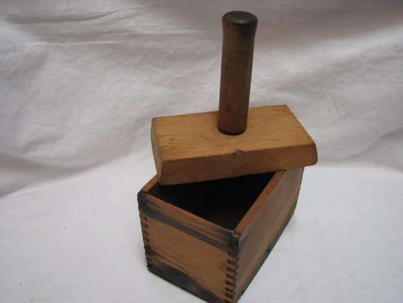 Antique Butter Press Mold Box Dovetailed
