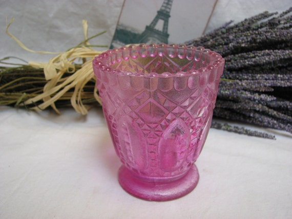 Pink Toothpick holder pressed glass satin glass vase