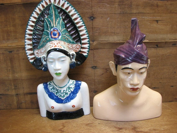 Mid Century Plaster Busts Balinese Royal Couple