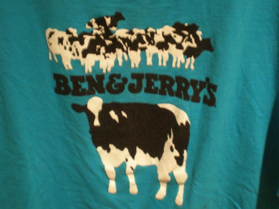 SALE vintage Ben and Jerrys cows ice cream blue t-shirt