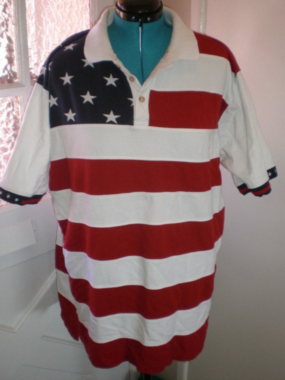 vintage american flag larger size heavy woven polo shirt usa