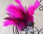 CLEARANCE SALE - Hair Feathers Hot Pink and Black and Sparkle Feathers Boutique Hair Bloom (Set of 1)