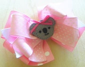 Pink Gray Koala Layered Boutique Hair Bow Hairbow Hair Clip Felt Applique - Pink Gray Koala Bear (Set of 1)