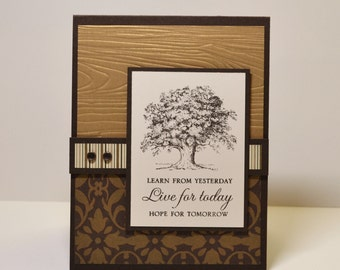 Father's Day Card, Card for a Dad, Masculine Birthday, Classic card for men, Husband Birthday, Oak Tree Card, Anniversary, Father, Gold