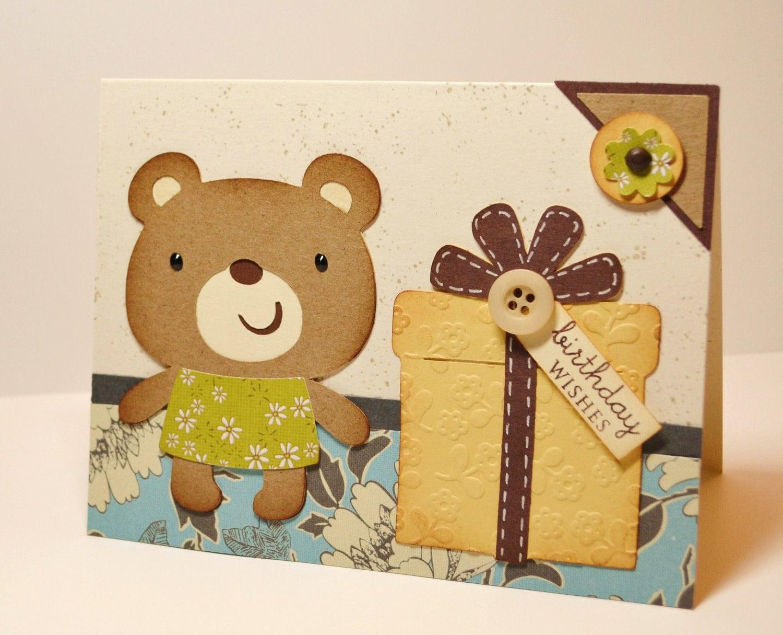 Bear Handmade Birthday Card Bear Birthday Teddy Bear – Birthday Card Bear