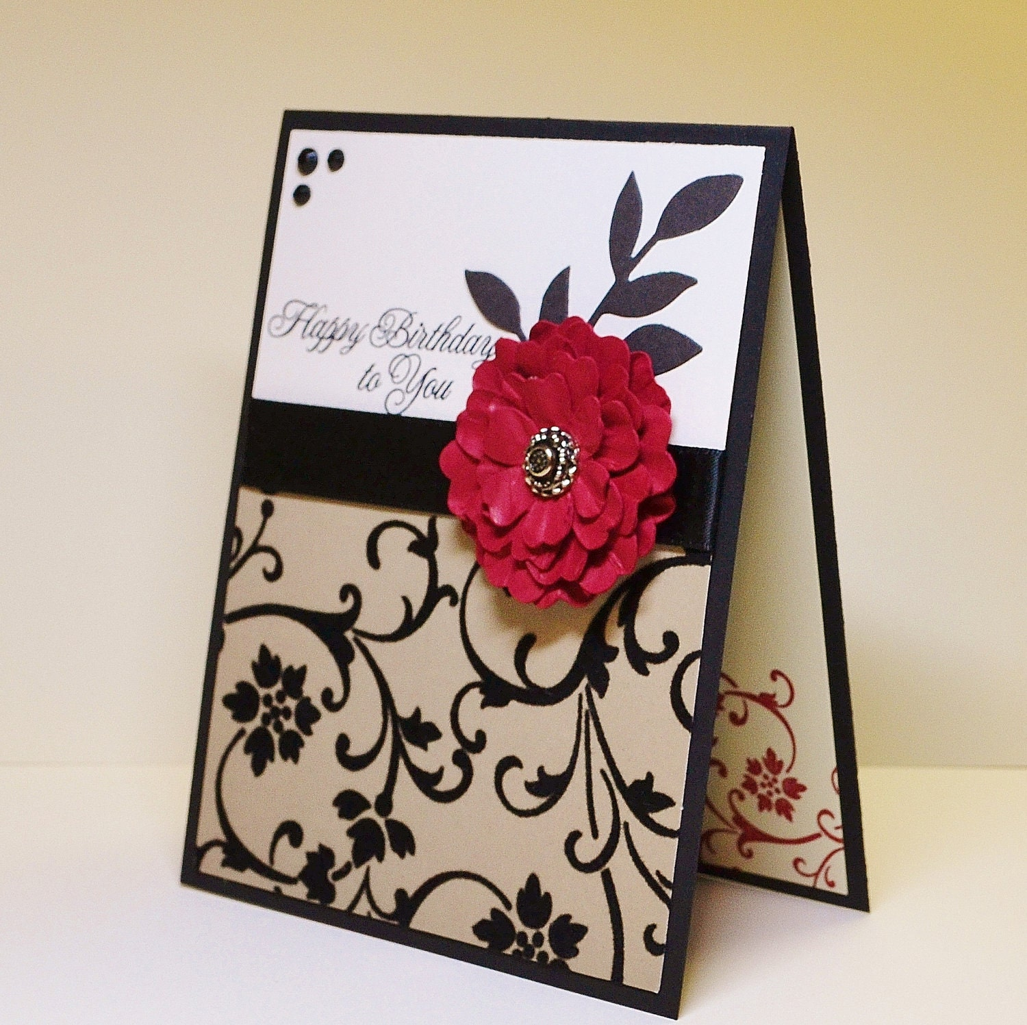 Classic Handmade Birthday Card Distressed Flower Red And