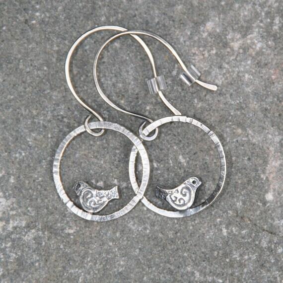 Little Birds- sterling silver birds on hammered silver rings, earrings