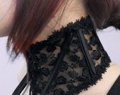 The Dame - Black Rose Lace, Neck Corset.