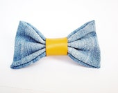 Blue jeans hair bow, denim barrette, blue jeans hair clip, cute girls hair bow, mustard yellow hair clip, cute leather hair bow