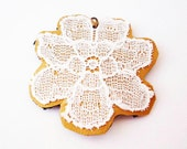 White flower lace on mustard yellow leather necklace. Romantic statement necklace, CYBER MONDAY SALE, Black Friday Etsy Sale