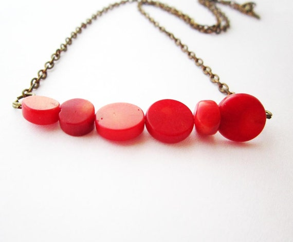 Red coral necklace. Simple elegant spring summer fashion natural coral necklace. Ready to ship. FREE combined SHIPPING