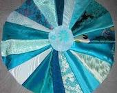 20 PCS Aqua/ Teal Fancy Fabric for Crazy Quilts, Art Quilts & Art projects