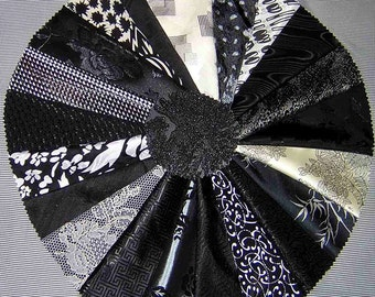 20 PCS Black/Whites Fancy Fabric for Crazy Quilts, Art Quilts & Art projects