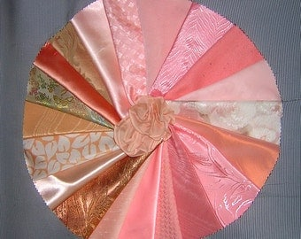 20 PCS Pretty Peach Crazy Quilt Fabrics for Crazy Quilts, Art Quilts & Art projects