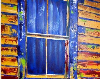 "30"" x 40"" Rustic Window Painting"