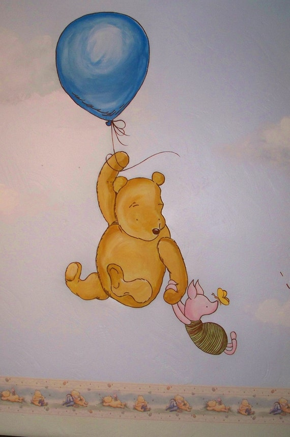Winnie the pooh nursery mural please read by lynnemackmurals for Classic pooh nursery mural