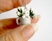 White kitten in a mug pendant - the cat and the rosebuds