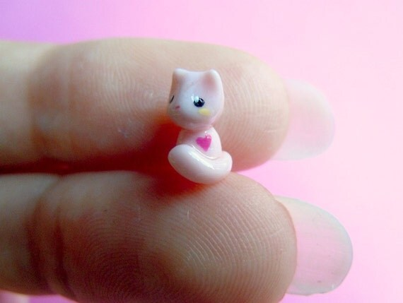Tiny pink kitten with a cute pink heart