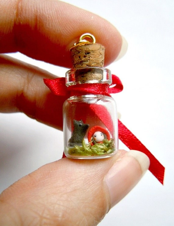 Red Riding Hood pendant - miniature terrarium in a bottle