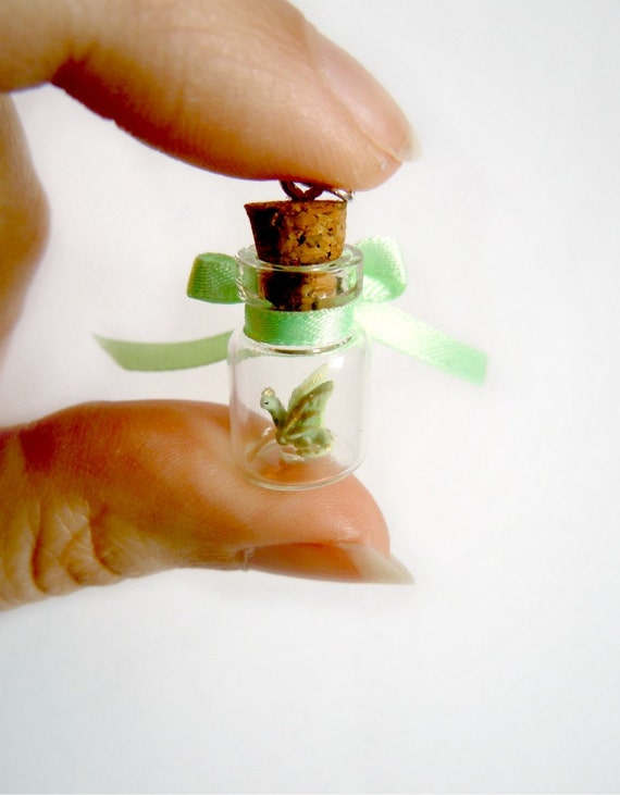 Tiny dragon in a bottle - OOAK pendant in mint green and gold