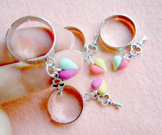Heart ank key charm ring - in light turquoise and salmon pink