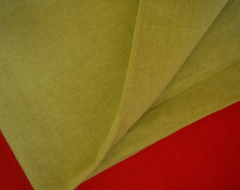 Wide lime/apple green linen cotton 1yard linen fabric (55 x 36 inches)