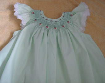 Smocked Strawberry Bishop Dress sz 2 to 4-Special Order