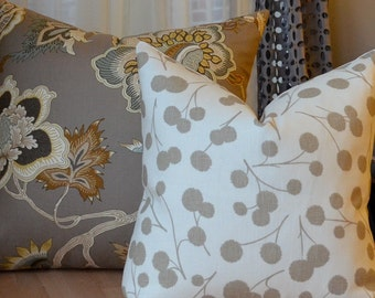 Cream and Taupe Pillow Cover, Modern Floral Pillow, Spring Pillow, Ivory, Beige, Greige, Tan, Brown, Throw Pillow, Cushion
