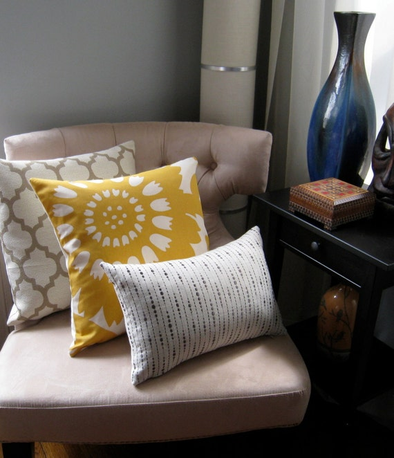 Etsy Throw Pillow Sets : Items similar to Pillows, Yellow Pillow, Grey Pillow, Moroccan, Pillow Set, Decorative Pillows ...