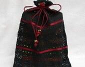 Lingerie bag, Travel bag, Multi-Purpose Black Lace Bag With Crimson Rose Ornaments