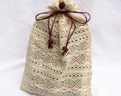 Lingerie bag,Travel bag,  Multi-Purpose Lace Pouch Cream with Crimson Rose Ornaments