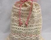 Lingerie Bag, Travel bag, Multi-Purpose Cream Lace Bag With Pink Rose Ornaments