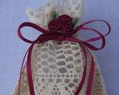 Bag, Lace Gift Bag with Flower Ornaments, Wedding favor bag, Christmas gift bag