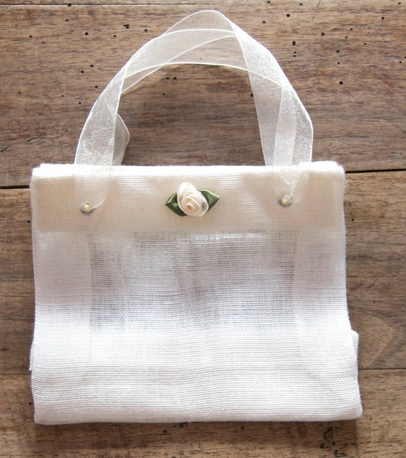 Bag, Linen Gift Bag, Wedding bag, Baby shower, Flowergirl bag, Easter bag