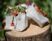 HONKY DORY Hand-Loomed, Hand-Embellished Little Silk Bags in Fresh Garden Colors -  Set of 3