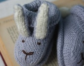 MR. RABBIT Likes to Wander Hand-Knit BABY Booties