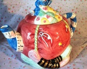 Vintage Seamstress Mother Mouse Sewing Inspired Teapot Pincushion Perfect for Mother's Day