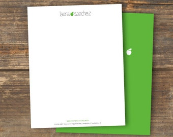 Teacher or Substitute Letterhead - Applelicious - Digital Download - Printable