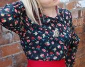 Vintage 80s floral blouse shirt UK 16 US 12 sheer black flowers