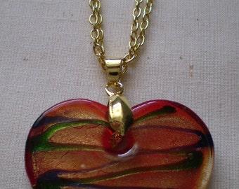 Orange glass heart necklace