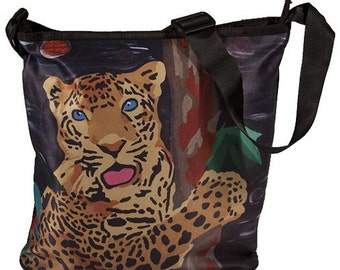 Jaguar Large Bucket Handbag by Salvador Kitti - From my Original Oil Painting, Tree Hugger  - Sale
