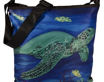 Sea Turtle Small Bucket Handbag by Salvador Kitti - From My Original Painting, Wisdom - Support Wildlife Conservation, Read How