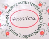 Pillow for Grandma or Mom with Childrens Names Custom Family Name Pillow with Embroidery and Children's Names
