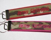 Army Girlfriend Key Fob Red or Pink ACU or Multicam Largest KEY chain beautiful